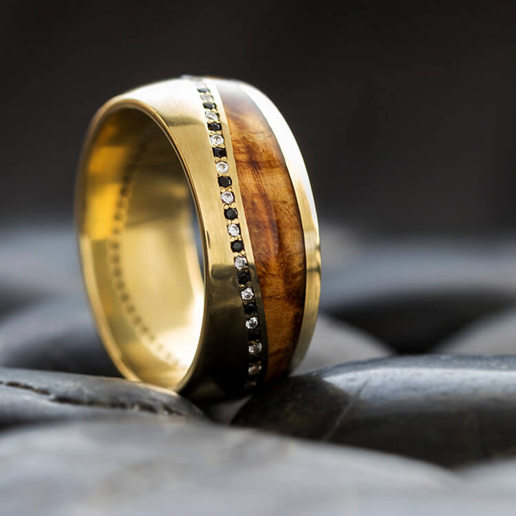 Yellow Gold Wedding Band with White and Black Diamonds - DJ1016YG