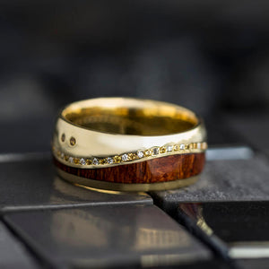 Wood Wedding Band, Yellow Gold Ring with Gemstones - DJ1017YG