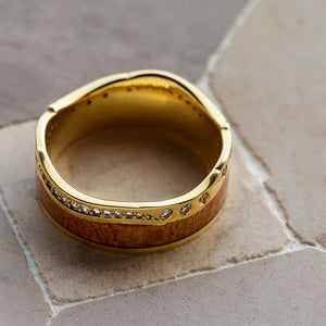Wood Wedding Band with Diamond Eternity Design - DJ1018YG
