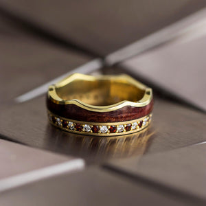 Eduan | Crown Ring, Wood Wedding Band in Yellow Gold - DJ1020YG