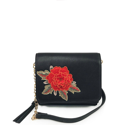 Double Pocket Crossbody with Floral Stitching