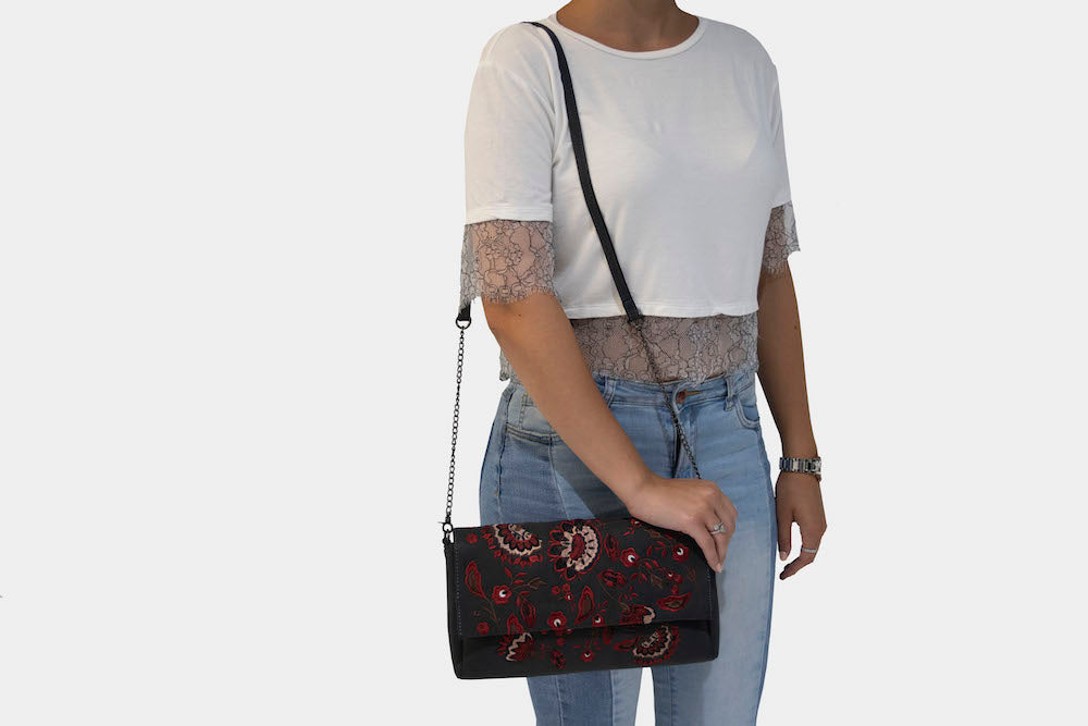 Black Crossbody with Floral Embroidered Detailing