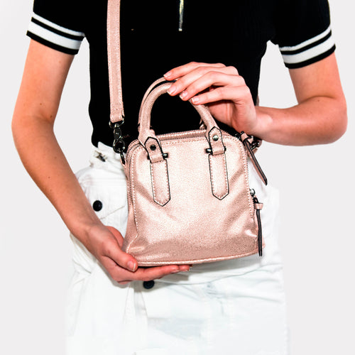 MINI LOGAN SHIMMER SATCHEL ROSE GOLD