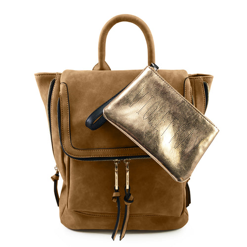 Cognac Kendall Midi Backpack with VR Pouch