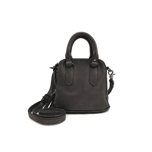 MINI LOGAN SHIMMER SATCHEL GUNMETAL