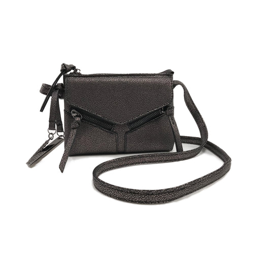 LEANNA MINI SHIMMER CROSSBODY GUNMETAL