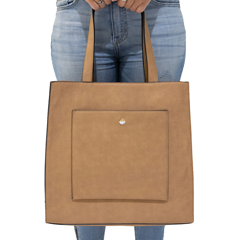 Tan Front Pocket Tote