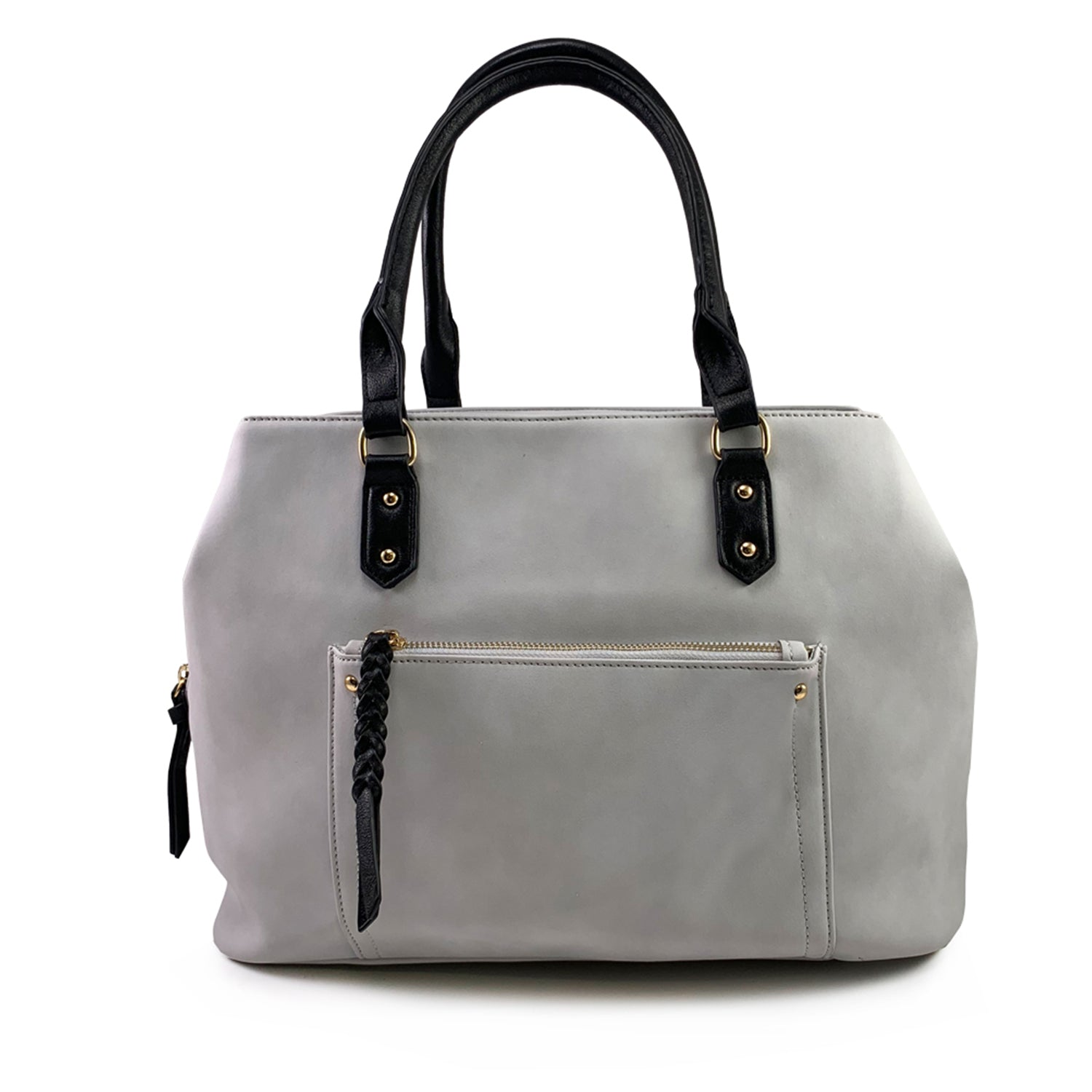Light Grey Braided Zip Front Pocket Carter