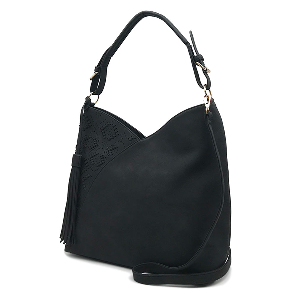 Clover Perf Hobo with Whipstitching and Tassel