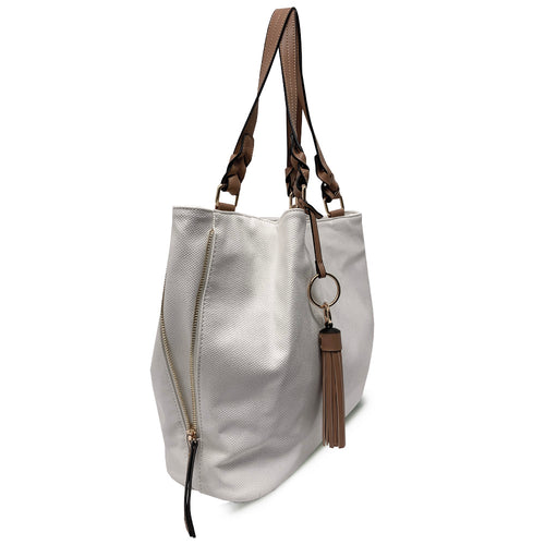 White AVA Triple Entry Tote with Braided Handles