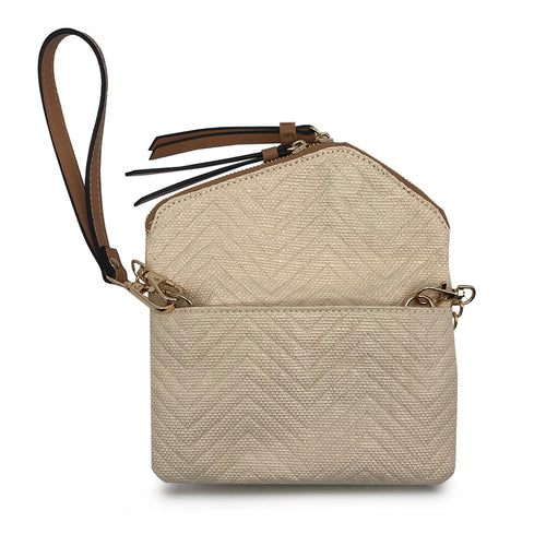 Floral Natural Mini Envelope Flap Straw Crossbody