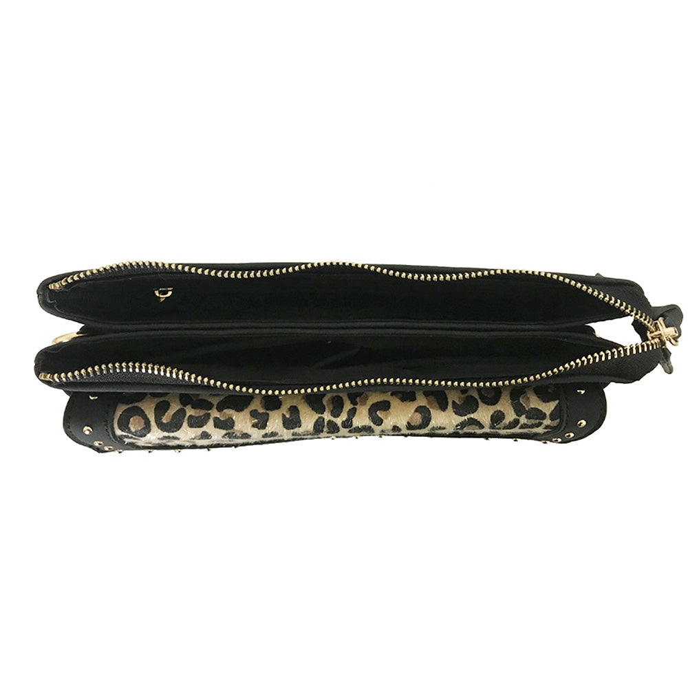 Crossbody Leanna with Leopard Studded Flap