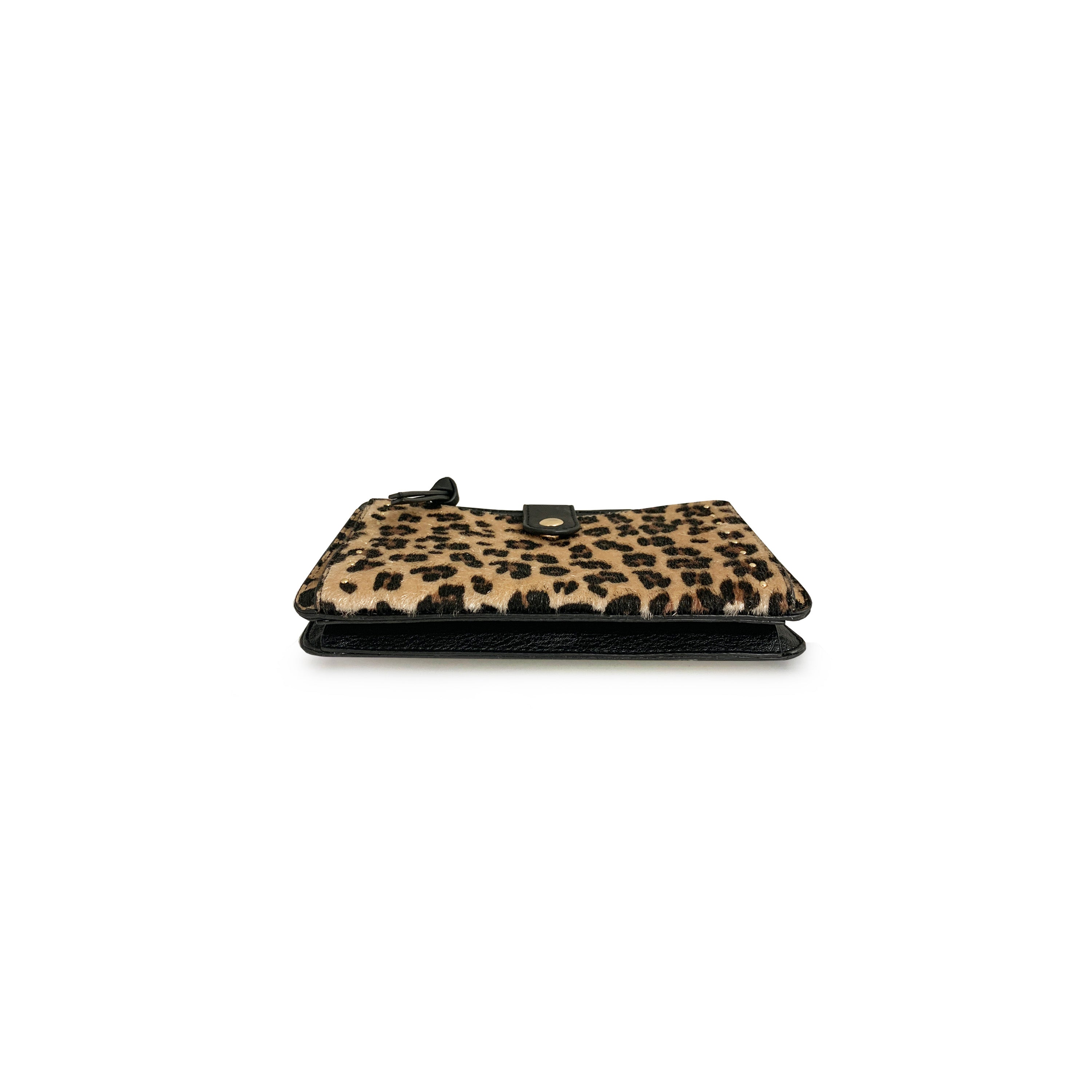Wallet on a String with Leopard Studded Pocket