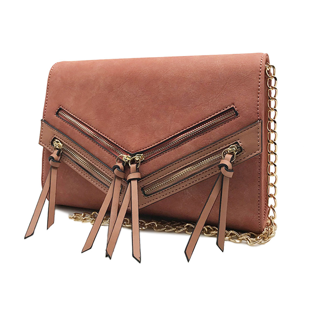 Crossbody Foldover with Multi Zippers