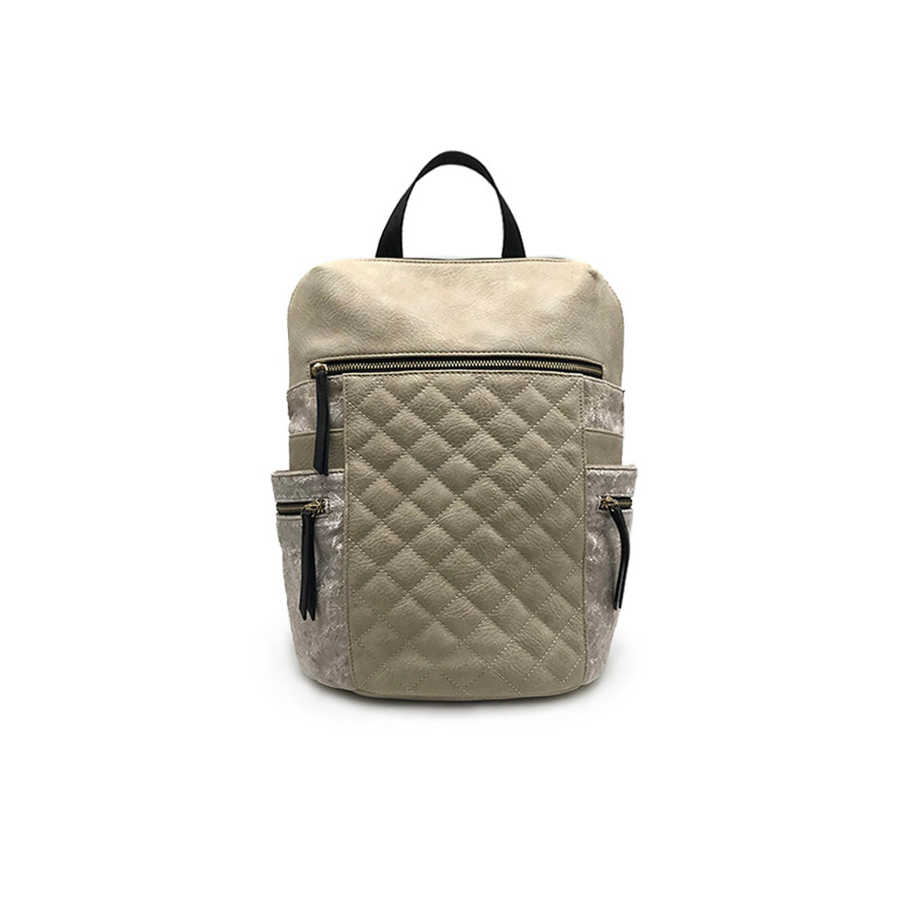 Quilted Backpack with Velvet Accents