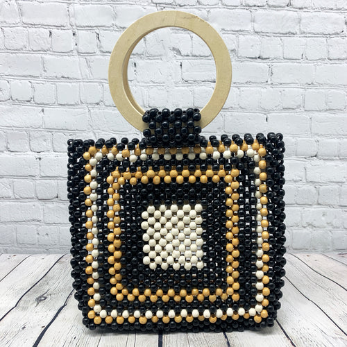 Wood Handle Beaded Bag