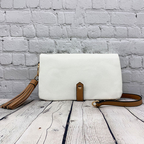 White Textured Foldover Wallet on a String