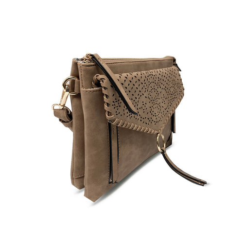 Tan Perforated Leanna Crossbody