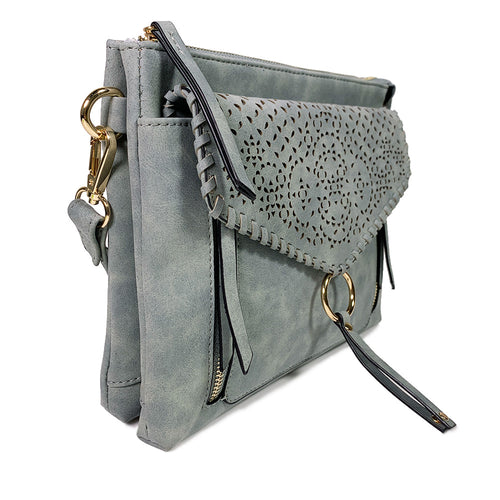 Ice Blue Perforated LEANNA Crossbody