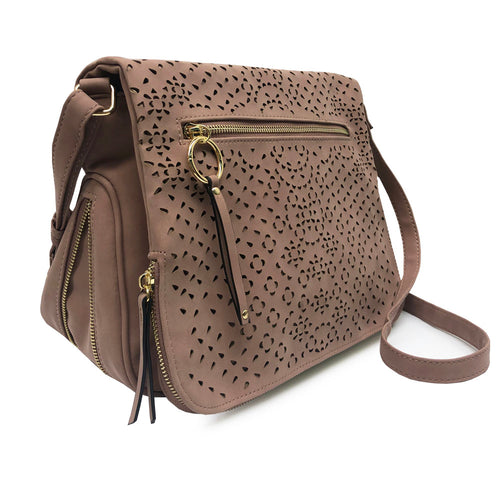 Mauve KIMMIE Crossbody with Laser Cut Detailing