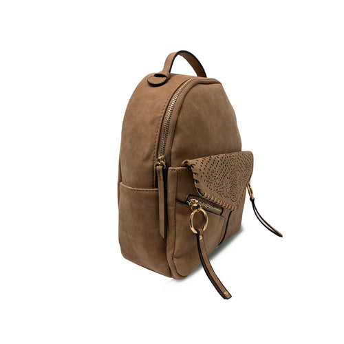 Cognac LEANNA BACKPACK with Whipstitched Perf Flap