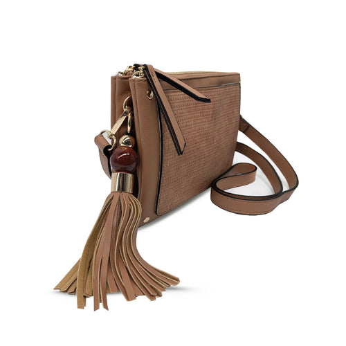 Cognac Triple Entry Crossbody with Wood Tassel