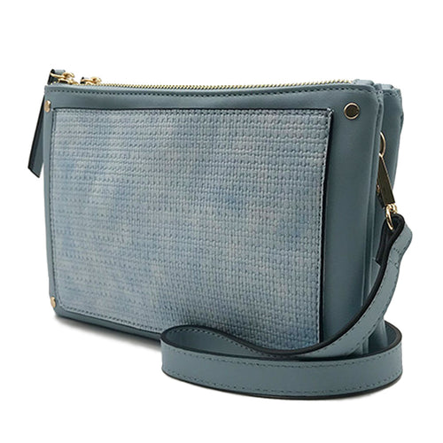 Ice Blue Triple Entry Crossbody with Wood Tassel
