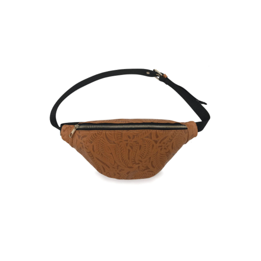 Cognac Tooled Sling Fanny Pack