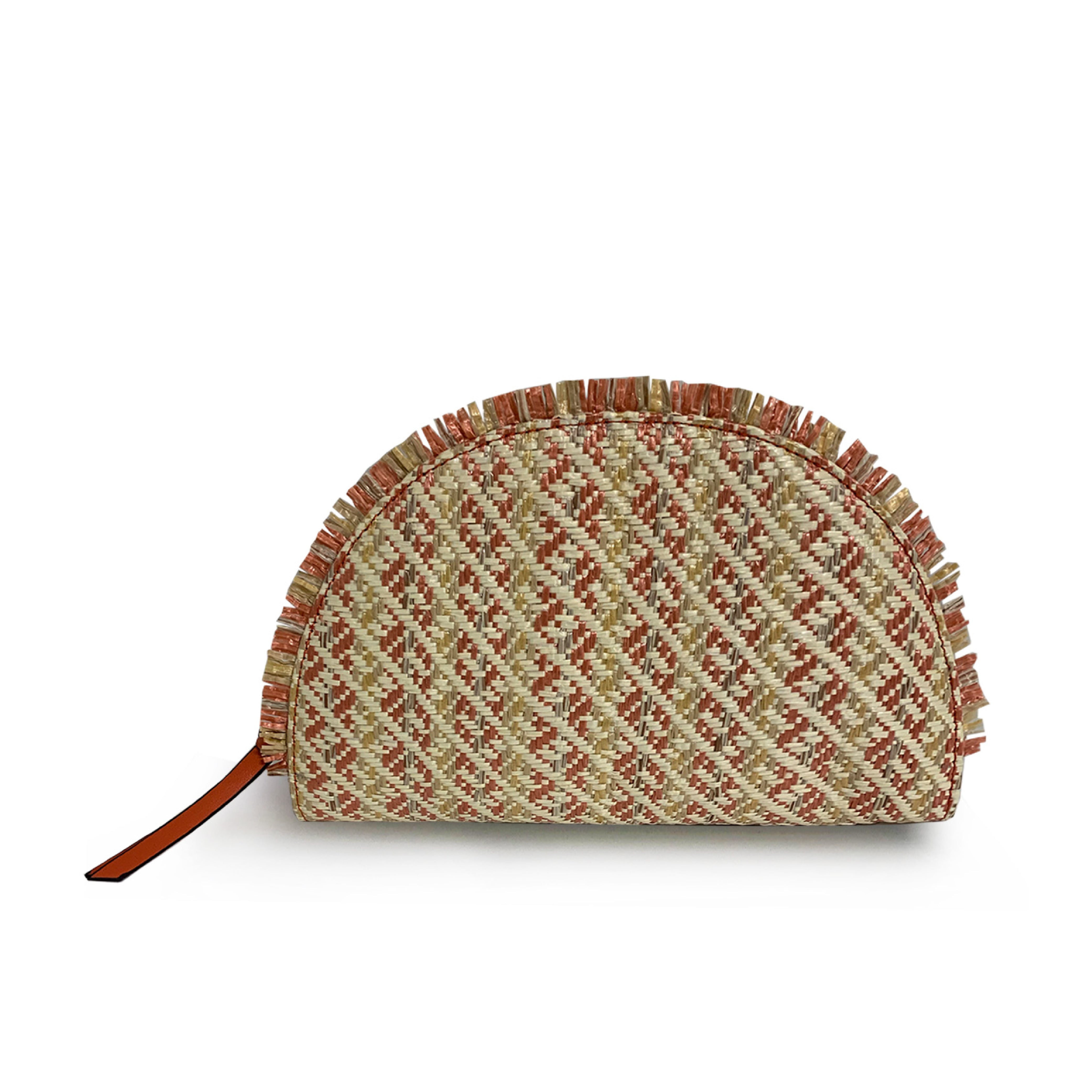 Woven Straw Taco Clutch with Frayed Trim