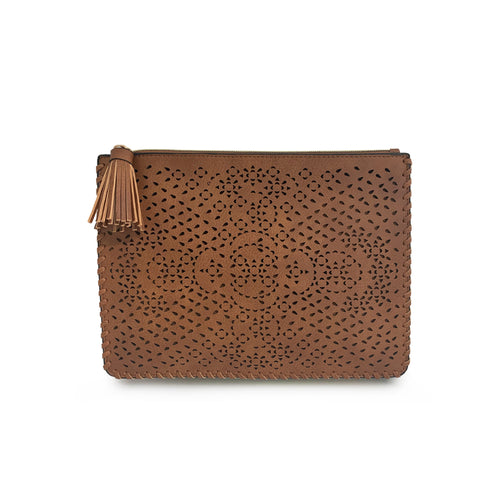 Perforated Whipstitch Trim Pouch with Tassel Puller