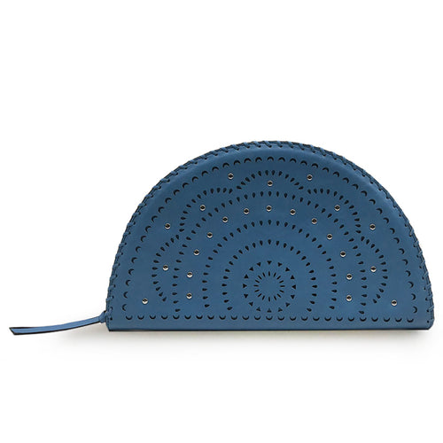 Blue Perforated Studded Taco Clutch