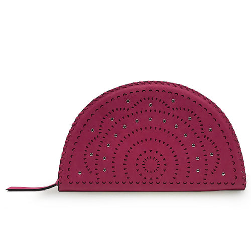 Pink Perforated Studded Taco Clutch