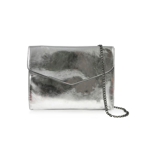 SHINE BRIGHT SILVER CONVERTIBLE CLUTCH