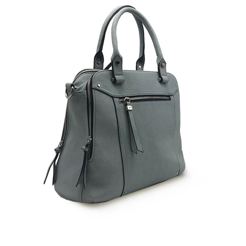 Front Pocket Logan Satchel with Stud Decorative Stitching