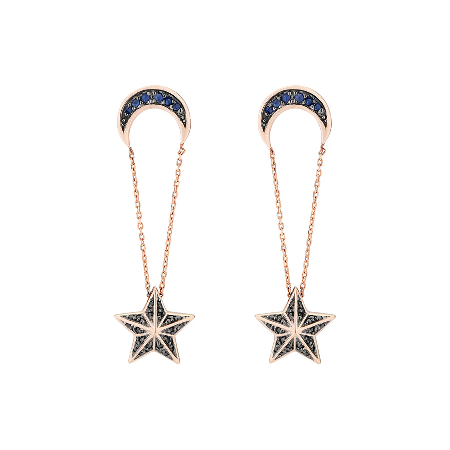 NIMA STAR EARRINGS BLUE SAPPHIRES & BLACK DIAMONDS