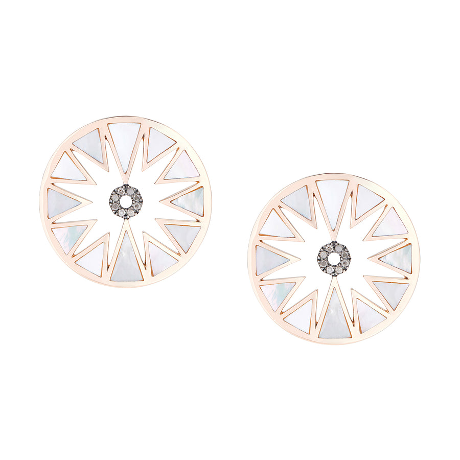 AURA EARRINGS WHITE MOTHER OF PEARL & GREY DIAMONDS