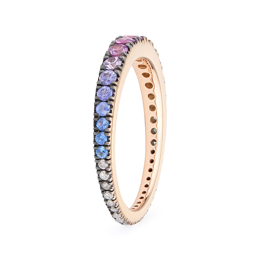 AVALON RING RAINBOW SAPPHIRES & GREY DIAMONDS