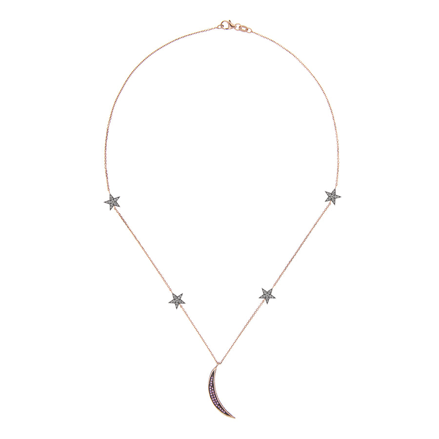 BY THE LIGHT OF THE MOON NECKLACE GREY DIAMONDS & PINK SAPPHIRES