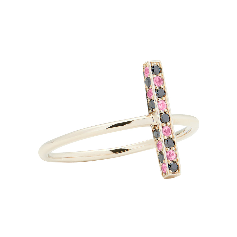 CANDY BAR RING BLACK DIAMONDS & PINK SAPPHIRES