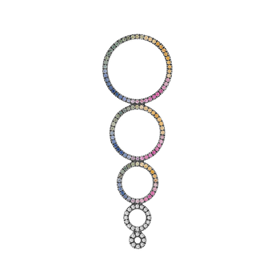 MAGIC CIRCLE 5 EARRING RAINBOW SAPPHIRES & GREY DIAMONDS