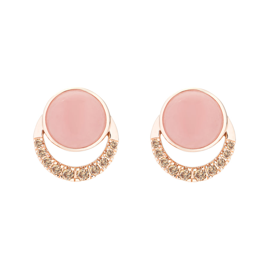LALUNA EARRINGS PINK OPAL & CHAMPAGNE DIAMONDS