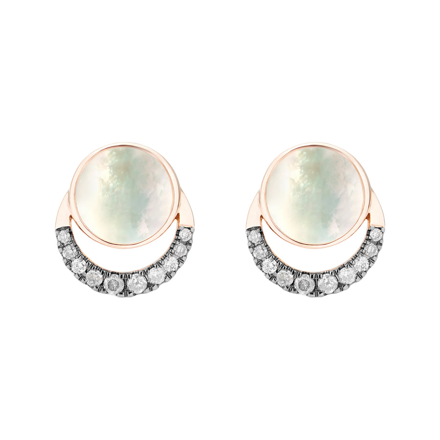 LALUNA EARRINGS WHITE MOTHER OF PEARL & GREY DIAMONDS