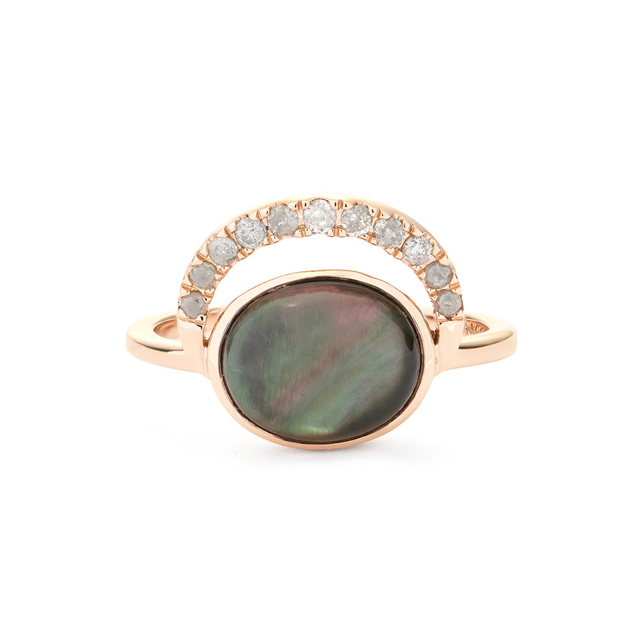 LALUNA RING BLACK MOTHER OF PEARL