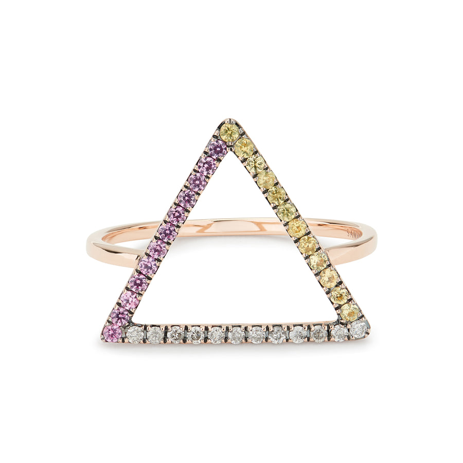 LOVE TRIANGLE RING PINK & YELLOW SAPPHIRES, GREY DIAMONDS