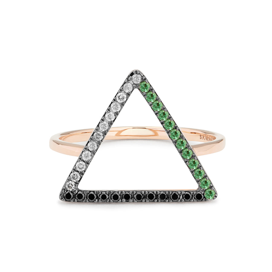LOVE TRIANGLE RING GREY & BLACK DIAMONDS, TSAVORITES