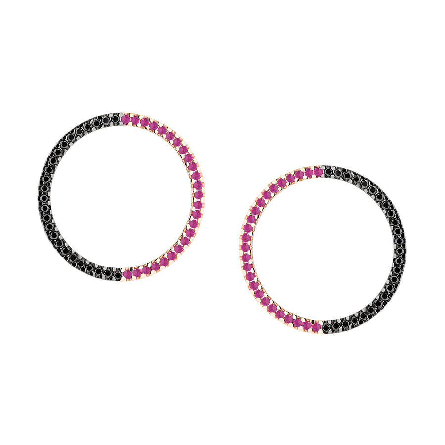 MAGIC CIRCLE EARRINGS RUBIS & BLACK DIAMONDS