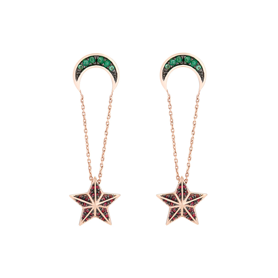 NIMA STAR EARRINGS EMERALDS & RUBIS