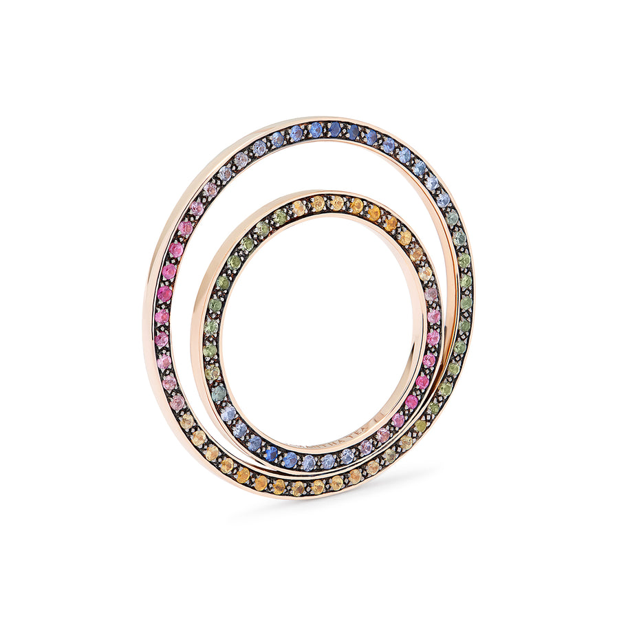 ODYLE RING GREY DIAMONDS & RAINBOW SAPPHIRES