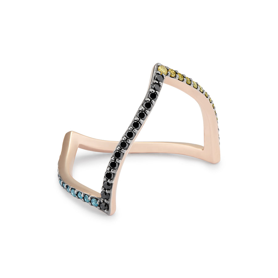 ALIKA RING BLACK, YELLOW, GREY & BLUE DIAMONDS