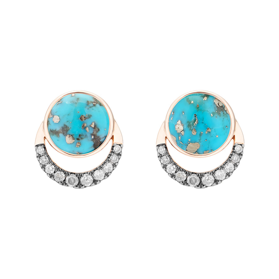 LALUNA EARRINGS PERSIAN TURQUOISE & GREY DIAMONDS